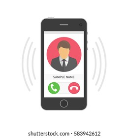Smartphone with incoming call on display. Mobile phone ringing with signal and waves and vibration. Vector illustration in modern flat style. EPS 10.