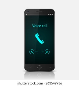 Smartphone with incoming call on display,vector