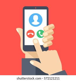 Smartphone with incoming call screen. Hand holding smartphone, finger touching screen. Accept or reject call. Modern concept for web banners, websites, infographics. Flat design vector illustration.