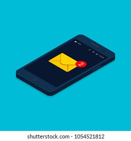 Smartphone and incoming messages isometric illustration. New mail, sms email notification. Vector isolated illustration.