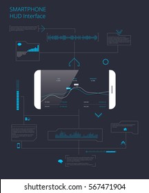 Smartphone infographic HUD elements. Vector illustration