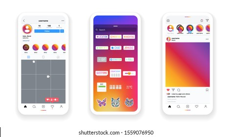 Smartphone instagram screen interface in social media application. Stories photo frame design app post template. Vector mock up illustration