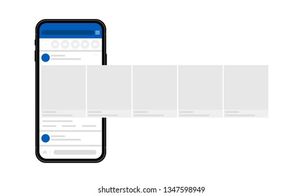 Smartphone with interface carousel post on social network. Vector illustration