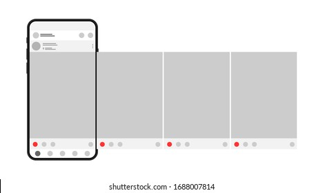 Smartphone with interface carousel post on social network. Сarousel post on a social network.