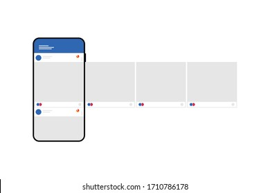 Smartphone with interface carousel post on social network. Vector illustration.