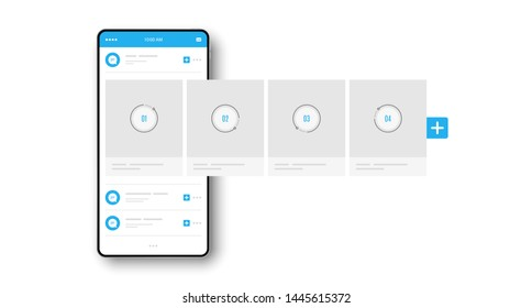 Smartphone with interface carousel post. Social network ads template. Online stories post. Comment chat bubble. Carousel ads banner. Social media story. Phone mockup template. Vector