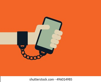 Smartphone, internet, technology addiction vector concept with hand chained to the phone. Eps10 vector illustration.