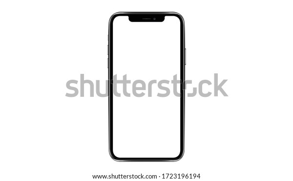 smartphone iphon frameless with a blank screen lying on a flat surface. High Resolution Vector for Infographic Global Business  web site design or phone app