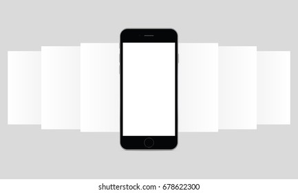 Smartphone iPhone 6 app screen mockup. Blank wireframing screens. Mobile app design concept for showcasing screenshots. Vector illustration