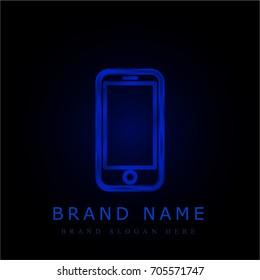 Smartphone iphone blue chromium metallic logo