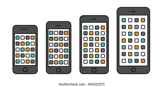 smartphone iphone icon set in the style thin line flat design isolated on white background. stock vector illustration eps10