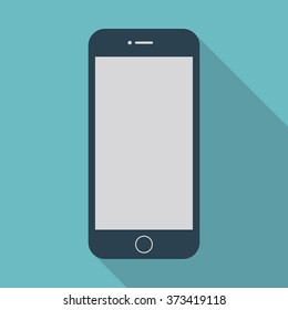 smartphone iphone icon in the style flat design on the blue background. stock vector illustration eps10