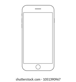 Smartphone iphone outline classic style. Mobile phone iphone outline.  Iphone Smartphone vector eps10.