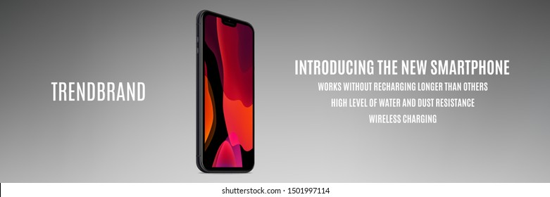 smartphone in iphone style black color with colorful screen isolated on grey background. stock vector 3d isometric illustration