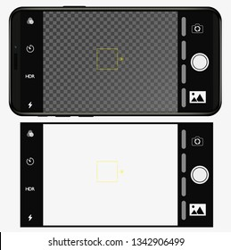 smartphone in IPhone style with camera application. ios user interface of camera viewfinder. Vector illustration flat style