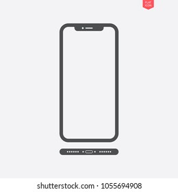smartphone in iphone style icon in the flat style with a view from below on grey background. stock vector illustration eps10
