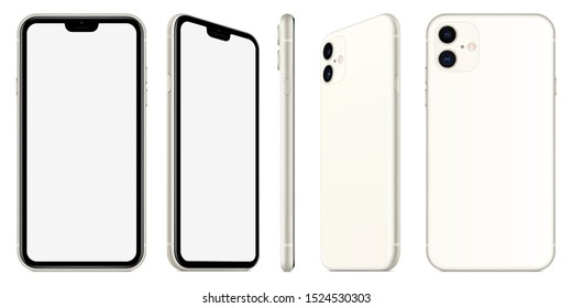 smartphone in iphone style silver color with blank screen on white background. stock vector 3d isometric illustration