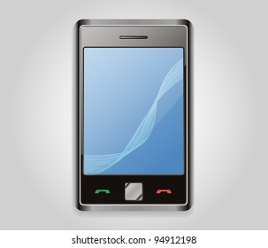 smartphone isolated on gradient background, editable vector file