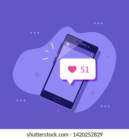 Smartphone with LIKE symbol. Social media concept banner. Flat style illustration.