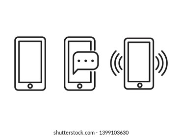 Smartphone line icon set isolated on white