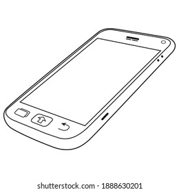 smartphone line vector illustration, isolated on white background.Top view