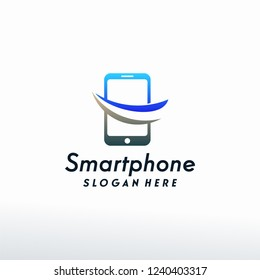 Smartphone logo designs concept vector, Phone logo designs with swoosh logo template
