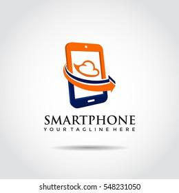 Smartphone Logo template with Arrow. Vector Illustrator Eps.10