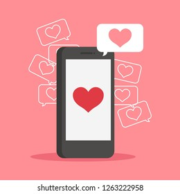 Smartphone. Love, hearts. Valentines day
