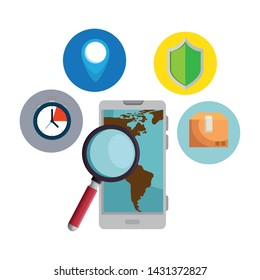 smartphone with magnifying glass and delivery service app