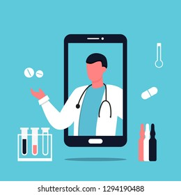 Smartphone with male doctor on phone screen holding meds.Online medical consultation concept, Modern medicine and healthcare system support. Pharmacy, hospital. Urology, man doctor. Mobile app