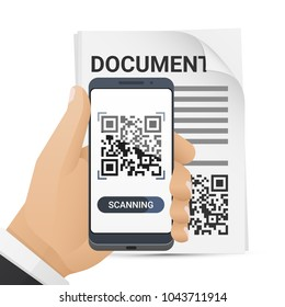 Smartphone in man's hand scanning QR code from document. Barcode scanner application on smart phone screen. Vector illustration