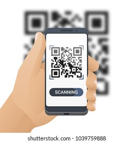 Smartphone in man's hand scans QR code. Barcode scanner application on smart phone screen and blurred QR code behind. Vector illustration