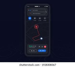 Smartphone map GPS navigation app dark mode ux ui concept, Mobile map application, App search map navigation, Technology map, City street navigation maps, gps tracking, App dark mode, Vector