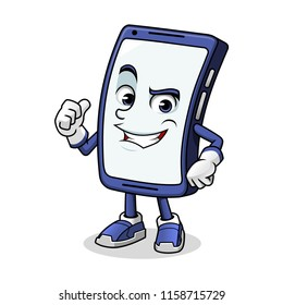 Smartphone mascot giving a thumbs up cartoon character design vector illustration