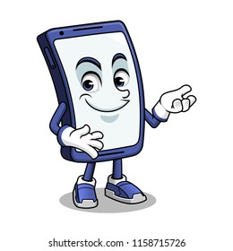 Smartphone mascot presenting cartoon character design vector illustration