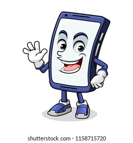 Smartphone mascot waving with his palm cartoon character design vector illustration
