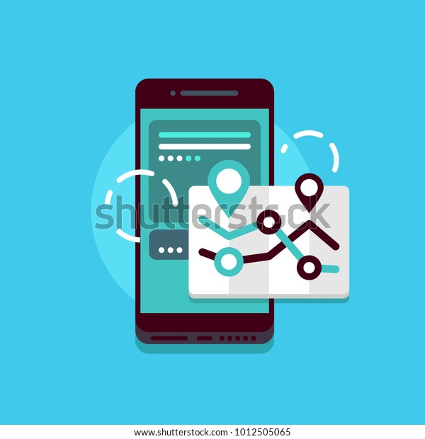 Smartphone with media and map. Concept vector illustration on blue background