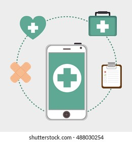 smartphone with medicine icons