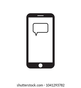 Smartphone with message box (speech bubble) on the screen. Modern gadget. Mobile device. Message icon. Black and white vector illustration.