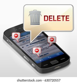 Smartphone with message bubble about data delete. Dialog box pop up over screen of phone. Qualitative vector illustration about smartphone, file removing, mobile technology, erasing, notification, etc