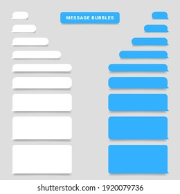 Smartphone message bubbles. Blank template messenger for conversation or talk. White and blue interface. Illustration vector