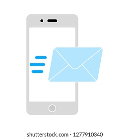 smartphone message icon - smartphone message isolated , mobile message illustration- Vector phone message