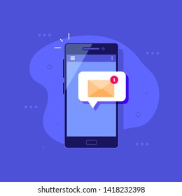 Smartphone with message notification. Social media concept banner. Flat style illustration.