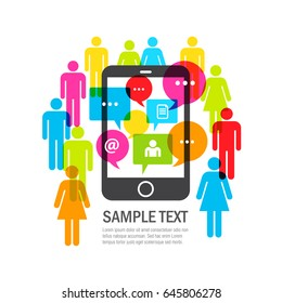 Smartphone with messaging and lots of people. Vector illustration.