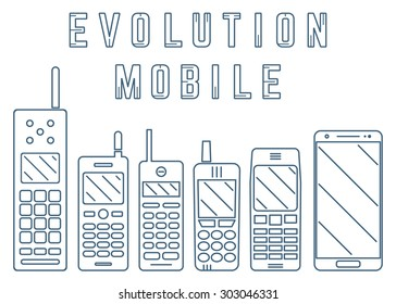 Smartphone, Mobile. Phone Evolution. Line design. Isolated on white background.
