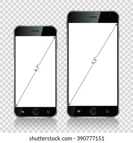 Smartphone, mobile phone isolated, realistic device on transparent background. Vector illustration eps10.