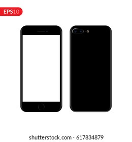 Smartphone, mobile, phone mockup isolated on white background with blank screen. Back and front view realistic vector illustration phone with black color.