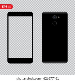 Smartphone, mobile phone on isolated transparent background, Photo realistic vector illustrations modern phone with black color. Front and back view mockup template.