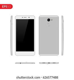 Smartphone, mobile phone on isolated background, Photo realistic vector illustrations modern phone with grey color. Front, back and form the side view mockup template.