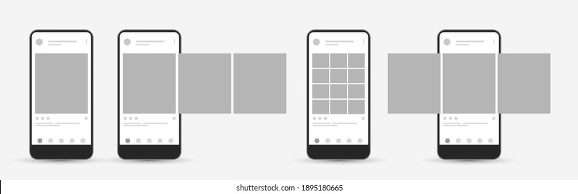 Smartphone mock up with carousel interface post on social network. Social media mobile app page template. Design of the tape profile. Vector illustration